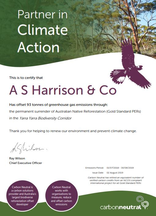 Carbon emissions certificate